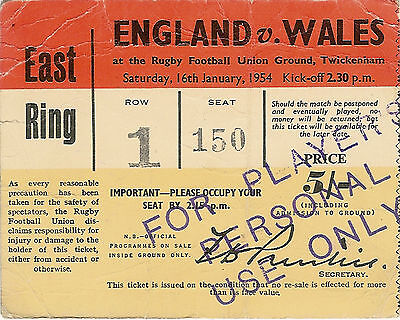 ENGLAND v WALES 16 Jan 1954 RUGBY TICKET
