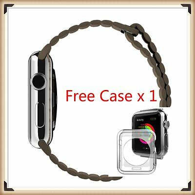 Brown Leather Watch band strap Magnetic Buckle for Apple Watch 42mm