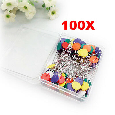 100 x Colorful Head Dressmaker Pins Tailor Straight Pins Sewing Craft