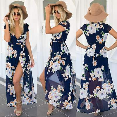 Womens Boho Summer Casual Floral Sundress Party Beach Long Maxi Split Dress S-XL