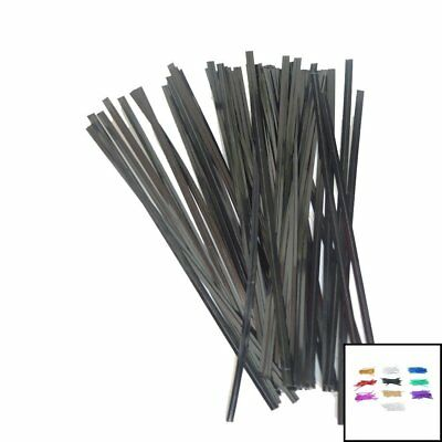 500PCS TWIST TIE BLACK WIRE Cello Bags Party Gift Packaging CLOSURE 10cm