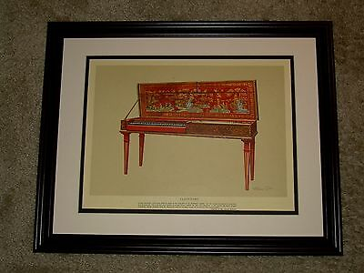 1957 Framed Print of a Clavichord Decorated in Red Chinoiserie by Wiliam Gibb