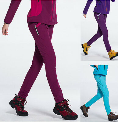 Women Windproof Breathable Slim Soft Shell Hiking Fleeced Outdoor Pants 1431