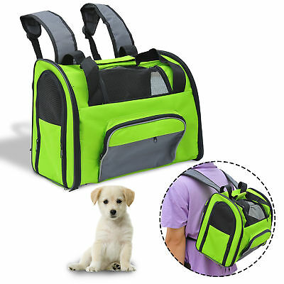 Pet Carrier Tote Dog Cat Puppy Bag Backpack Nylon Mesh Net Comfort Travel Green