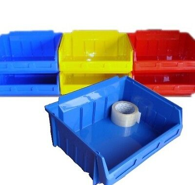 5 LARGE Plastic Stacking Parts Picking Storage Bins  Size 5 - Colour Choice