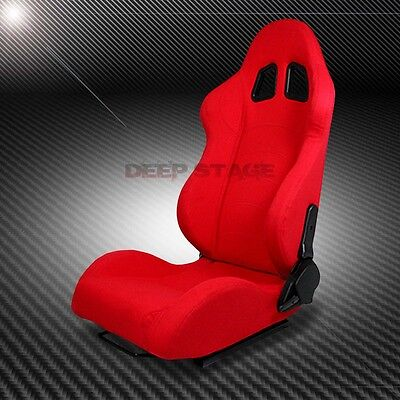 2 X Red Type-F1 Reclinable Sports Style Racing Seats+Mounting Slider Driver Side