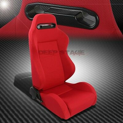 Pair Type-R Red Reclinable Sports Style Racing Seats+Mounting Sliders Right Side