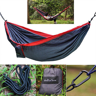 Double 2 Person Portable Camping Outdoor Hammock Nylon Parachute Hanging Swing