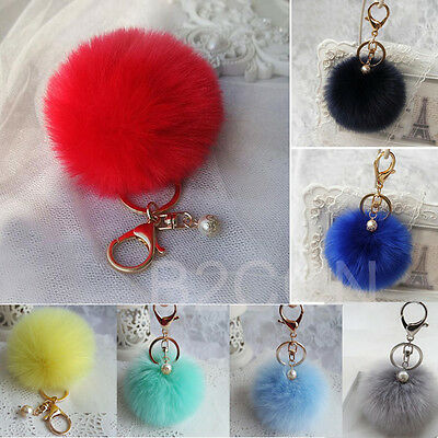 Fashion Artificial Rabbit Fur Ball Keychain Bag Plush Car Key Ring Key Pendant