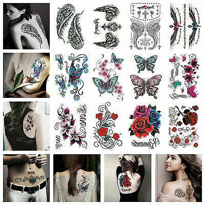 20 Styles Temporary Tattoos Paper for Women Body Art Tattoo Stickers Fake Tatoo