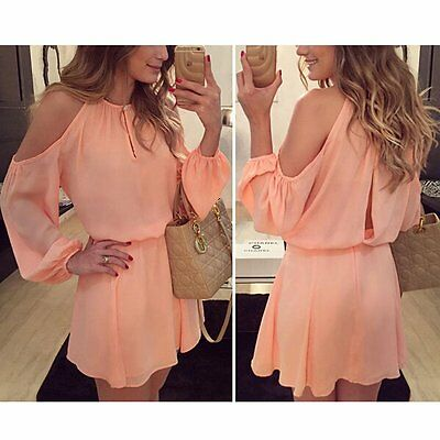 Summer Women's Long Sleeve Chiffon Evening Cocktail Party Casual Mini Dress