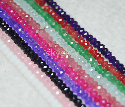 """Lots 2x4mm Faceted Multi-Color Gemstone Abacus Rondelle Loose Beads 15"""" Strands"""