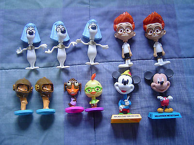 Mixed Lot Bobbleheads/Nodders Mickey Mouse , Chicken Little , Sherman & Peabody
