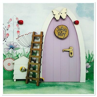 Lilac Personalised Wooden Magical Tooth Fairy Elf Pixie Door With Accessories