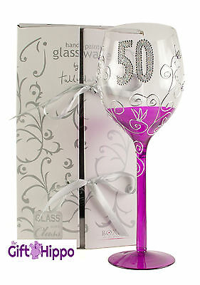 50TH Birthday Wine Glass - Beautiful Hand Painted Wine Glass - Gift Boxed