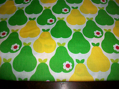Yellow & Green Pears On White Cotton Fabric