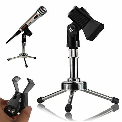 Adjustable Metal Tripod Desktop Table Mic Microphone Clamp Clip Holder Stand NEW