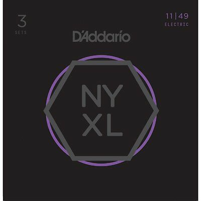 D'addario 3 PACK NYXL Electric Guitar Strings 11-49 Medium NYXL1149