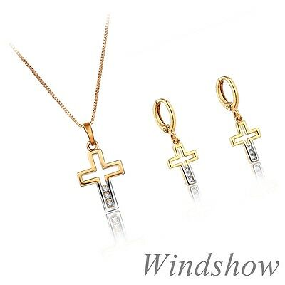 Child Girl 18K Gold GF Hollow Cross w/ Crystal Earrings Necklace Jewelry Sets