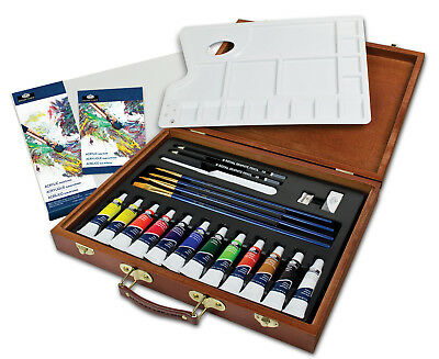 25 Piece Artist Premier Deluxe Acrylic Painting Wooden Case Carry Set Acr2030