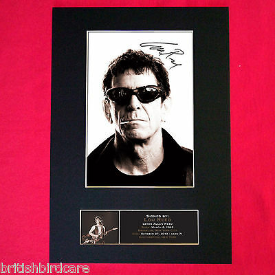 LOU REED Autograph Mounted Signed Photo RE-PRINT Print A4 396