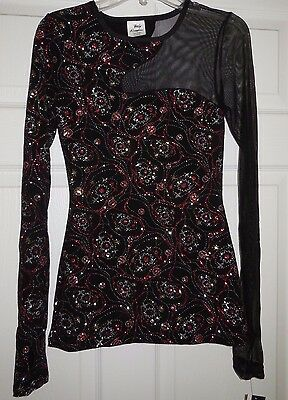 NWT Body Wrappers Dance Glitter CutOut Asymmetrical Pull Over Top Adult M T3983