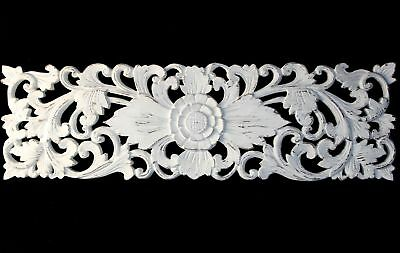 Bali style Lotus Panel Architectural Wall art  hand carved wood Whitewash 40""