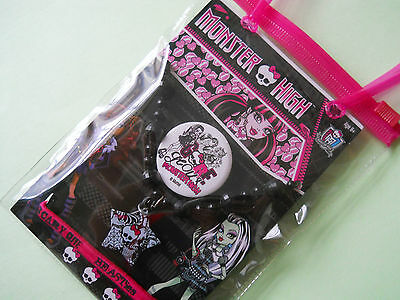 Monster High Gift Bag Necklace, Badge, Hair Elastic - New and Sealed