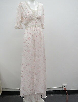 Vtg 1940s Silk Rayon Penoire Set Beautiful Column Gown and Puffed Sleeved Robe
