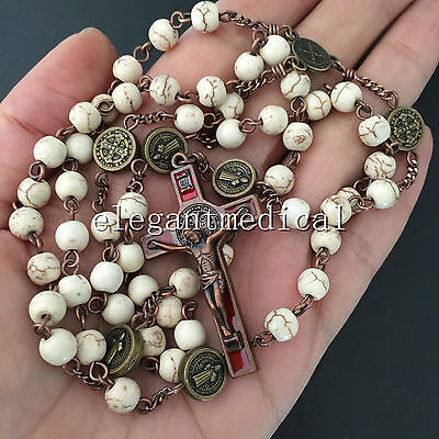 Vintage First Communion Rosary CRUCIFIX Turquoise bead St. Benedict Necklace