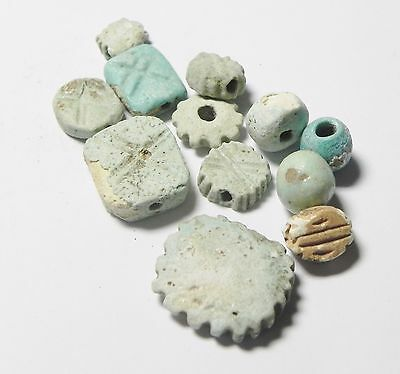 Zurqieh -Af478- Ancient Egypt - Lot Of 9 Faience Beads.1400 B.c