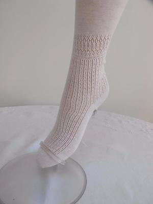 PAIR of ORIGINAL VINTAGE 1920's FLAPPERS WHITE LACE PANEL SEAMED STOCKINGS