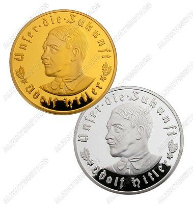 A Pair of 2 Pcs Nazi Leader Adolf Hitler 24K Gold & Silver Plated Coins Tokens
