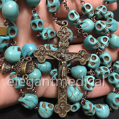 Catholic Vintage XL 10MM Turquoise skull beads Rosary Cross crucifix Necklace