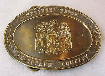 Vintage High Quality Solid Brass - Western Union Telegraph Co. Belt Buckle