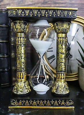 Egyptian Gods Eye Of Horus And Ankh Hieroglyphic Column Sand Timer Statue Decor