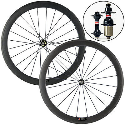 Ship From UK 700C 50mm Clincher Carbon Wheelset Road Bike Bicycle Carbon Wheels