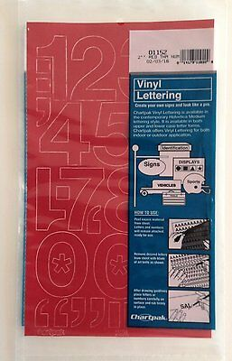 Chartpak 2-inch Red Stick-on Vinyl Numbers (01152), Full Sheet