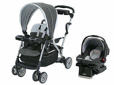 Graco RoomFor2 Dual Stand & Ride Stroller & Car Seat Travel System | Glacier