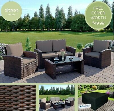 Light  Brown Rattan Wicker Weave Garden Furniture Conservatory Sofa Set + COVER