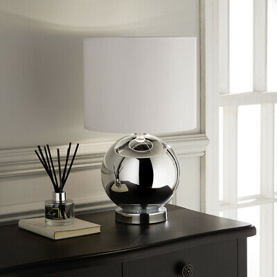 Kliving Ostend Chrome Table Lamp With Matching White Shade Home Lighting