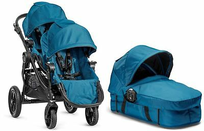 Baby Jogger City Select Twin Double Stroller Teal w/ Second Seat and Bassinet