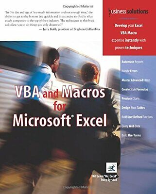 VBA and Macros for Microsoft Excel (Business Solutio... by Jelen, Bill Paperback