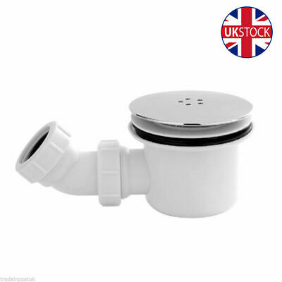 New Bathroom 90Mm High Fast Flow Waste Trap For Shower Enclosure Tray With Elbow