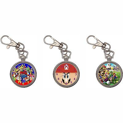 Super Mario Bros Silver Key Ring Chain Pocket Watch New