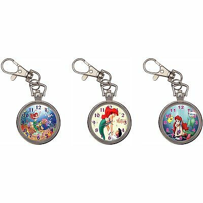 The Little Mermaid Silver Key Ring Chain Pocket Watch New