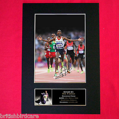 MO FARAH Mounted Signed Photo Reproduction Autograph Print A4 273