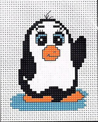 Penguin Cross Stitch Kit By Luca S 6.5 x 8.5cm Ideal For Beginners