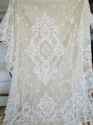 CIRCA 1900's, LOVELYTAMBOUR LACE PANEL/BEDSPREAD