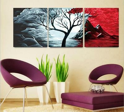 """16x20"""" DIY Home Decor Acrylic Paint By Number Kit Three Parts Tree 221"""